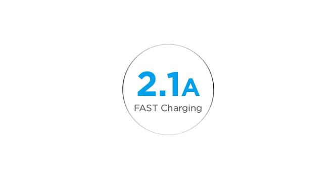 2.1A Ultra-Fast USB Charging