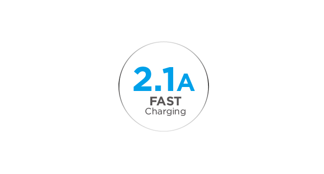2.1A Output for Ultra-Fast Charging