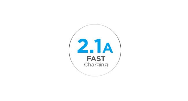 2.1A Ultra-Fast USB Charging Port