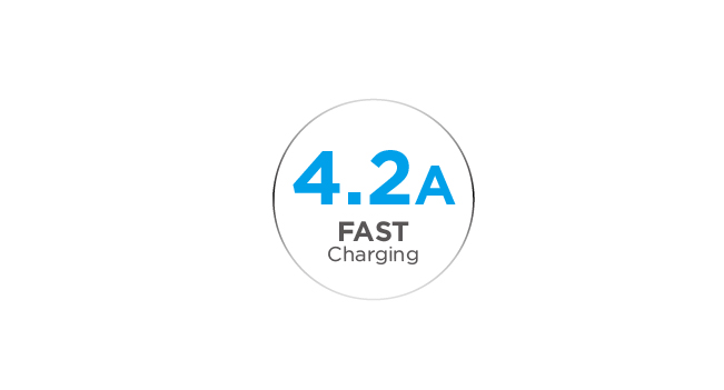 Total 4.2A for Ultra-Fast Charging